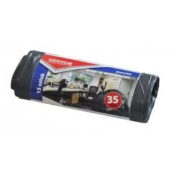 Worki na śmieci OFFICE PRODUCTS, mocne (LDPE), 35l, 15szt., czarne