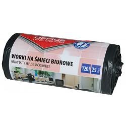 Worki na śmieci OFFICE PRODUCTS, mocne (LDPE), 120l, 25szt., czarne