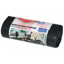 Worki na śmieci OFFICE PRODUCTS, mocne (LDPE), 60l, 20szt., czarne