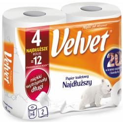 Papier toaletowy celulozowy VELVET Najdłuższy, 2-warstwowy, 486 listków, 4szt., biały