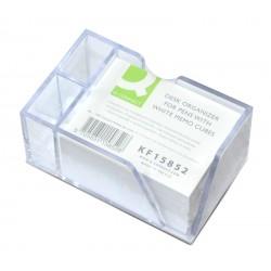 Przybornik na biurko Q-CONNECT na długopisy z białymi karteczkami