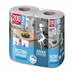 Ręczniki w roli ANNA ZARADNA 100 listków 2 rolki biały z niebieskim tłoczeniem