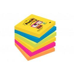 Bloczki samoprzylepne Post-it® Super Sticky, paleta Rio de Janeiro, 76x76mm, 6x90 kartek
