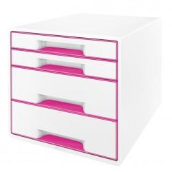 Pojemnik z 4 szufladami Leitz WOW, perłowy biały / różowy