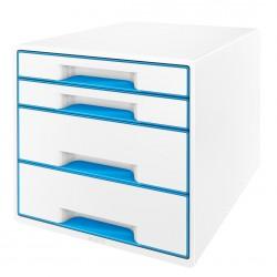 Pojemnik z 4 szufladami Leitz WOW, perłowy biały / niebieski