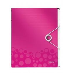 Teczka segregująca Leitz WOW, 6 przekładek 200k A4 Metaliczna różowa