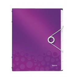 Teczka segregująca Leitz WOW, 6 przekładek 200k A4 Metaliczna fioletowa