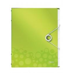 Teczka segregująca Leitz WOW, 6 przekładek 200k A4 Metaliczna zielona