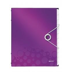 Teczka segregująca Leitz WOW, 12 przekładek 200k A4 Metaliczna fioletowa